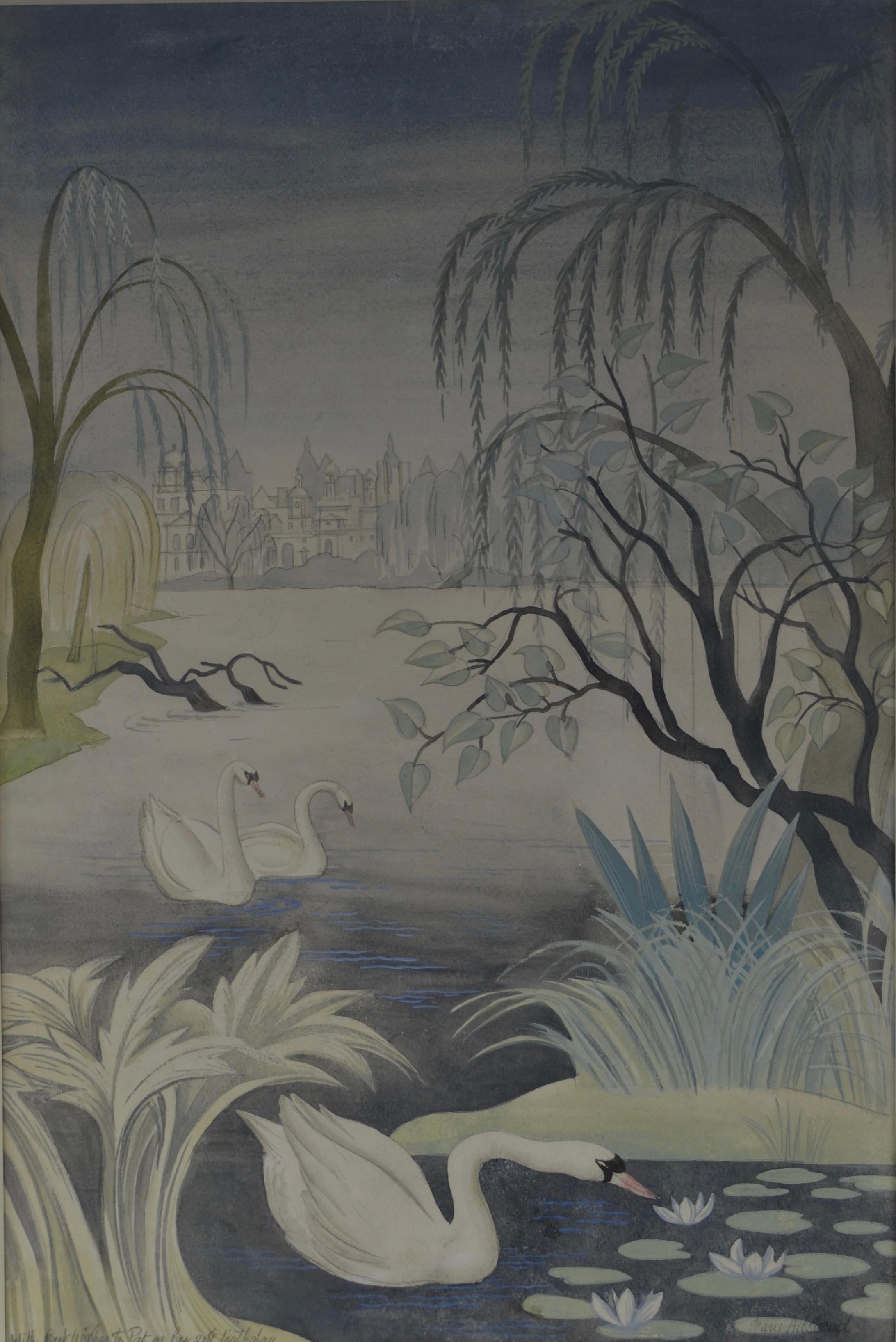 Swan Lake - Watercolour by British Muralist and Designer Mary Adshead