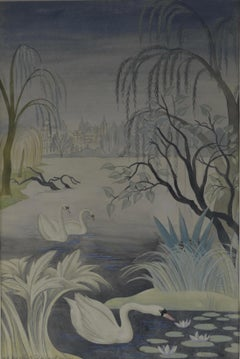 Swan Lake - Watercolour by British Muralist and Designer Mary Adshead