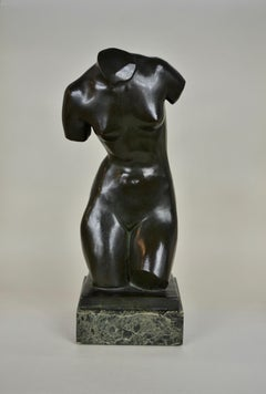 Torso - 20th Century Modern British Bronze nude figure by Edgar Howes