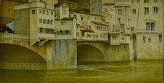 1940s British watercolour of the Ponte Vecchio, Florence by Joseph Southall