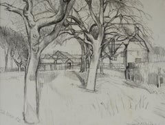 Orchard, Great Bardfield - Modern British landscape drawing by John Aldridge