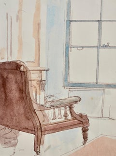 Studio Chair - interior watercolour drawing by British artist John Sergeant