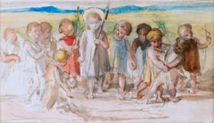 Infant Christ with Children - Pre-Raphaelite watercolour by Lady Waterford