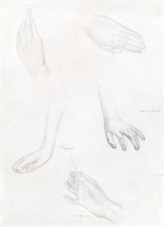 Study of Hands - Pre-Raphaelite pencil drawing by Edward Reginald Frampton