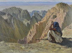 Afghan Soldier, Hindu Kush - Painting by American Artist working in India c.1900