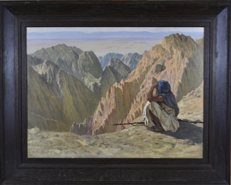 Afghan Soldier, Hindu Kush - Painting by American Artist working in India c.1900 - Gray Landscape Painting by John Roderick Dempster MacKenzie