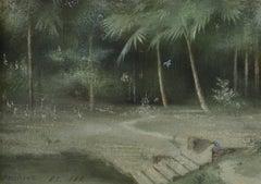 Kristopore - Pre-Raphaelite landscape watercolour of India