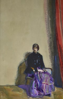 The Red Curtain - Early 20th Century British portrait watercolour by Spurrier