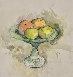 Fruit in a Green Tazza - Still Life Drawing by Modern British Artist