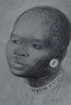 Zulu Girl - Chalk Portrait of South African Girl by Modern British Artist