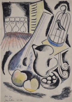 Still Life with Bird Cage - 1940s Cubist Still Life Drawing