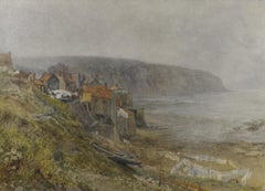 Washing Day, Robin Hood's Bay, Yorkshire - Pre-Raphaelite landscape watercolour