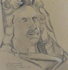 Monument to Denzil Holles, Dorchester - 1950s drawing by British Artist