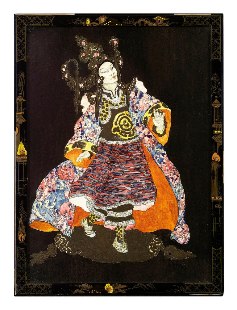 ELYSE ASHE LORD (1900-1971)  Aladdin  Signed l.r.: E LORD; bears title on a label on the backboard Watercolour, bodycolour over pen and ink with gold paint and applied glass stone, in the original chinoiserie lacquer frame.  38 by 27 cm.; 15 by 10 ¾