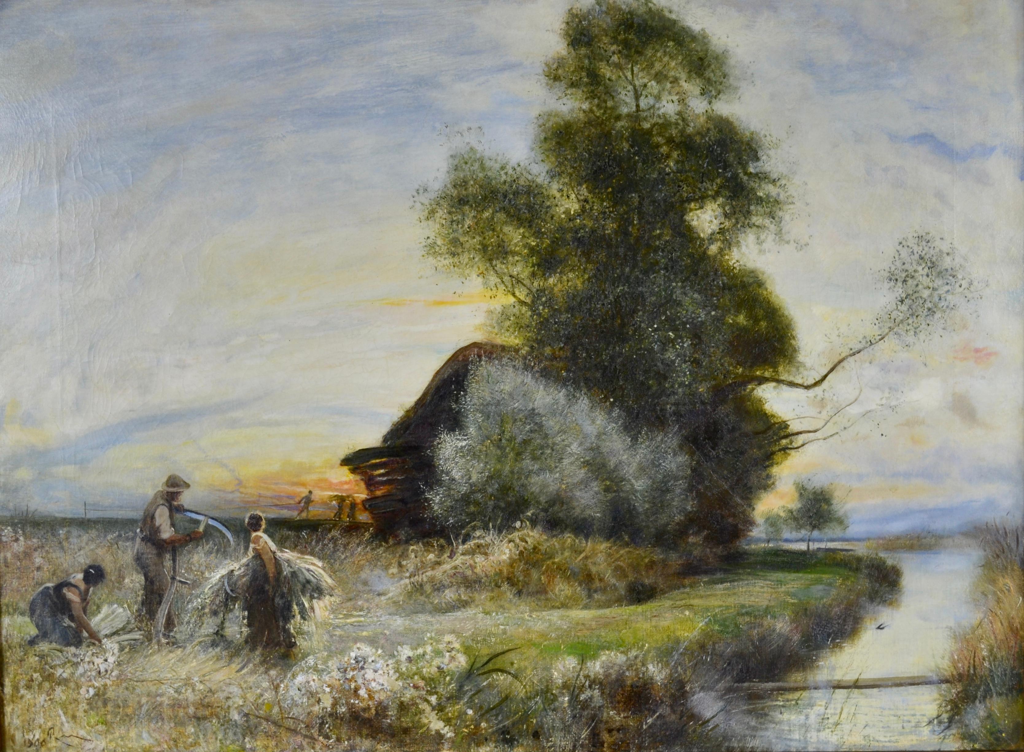 Fenland Reed Cutters - Victorian Idyllist landscape painting by Walker Macbeth