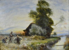 Fenland Reed Cutters - Victorian Idyllist landscape painting by Walker Macbeth