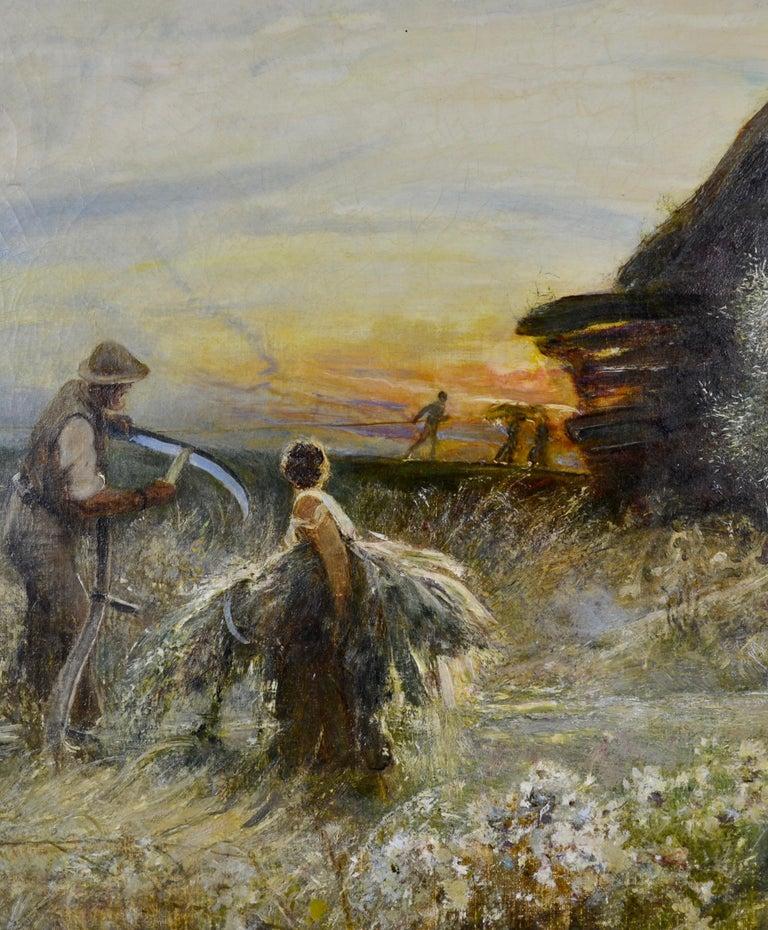Fenland Reed Cutters - Victorian Idyllist landscape painting by Walker Macbeth - Realist Painting by Robert Walker Macbeth, RA