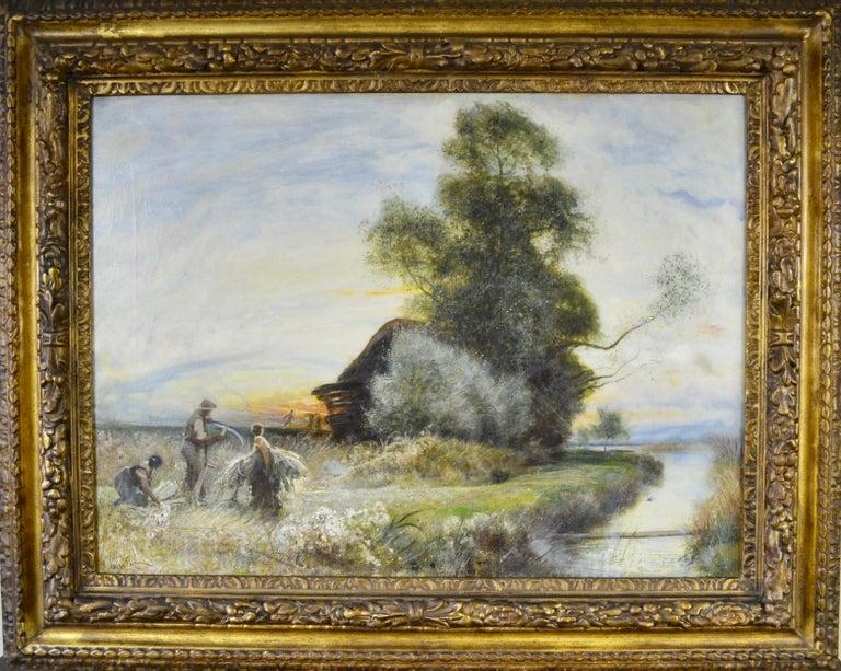 Fenland Reed Cutters - Victorian Idyllist landscape painting by Walker Macbeth - Painting by Robert Walker Macbeth, RA