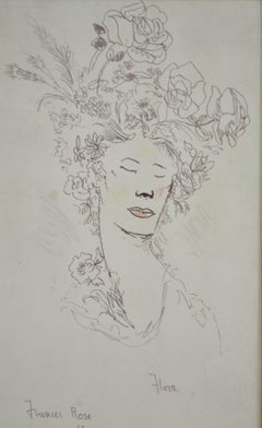 Portrait of Actress Flora Robson by British theatrical artist Sir Francis Rose