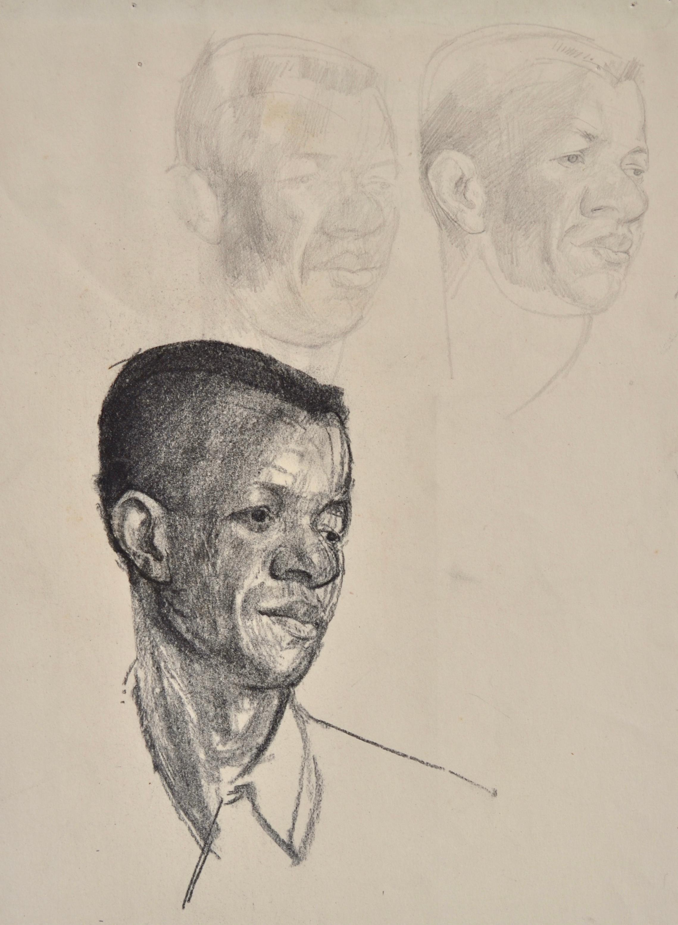 Three studies of a Head - Pencil Drawing by British artist John Sergeant
