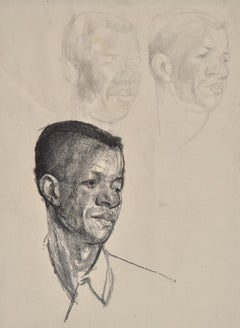Three studies of a Head - Pencil Drawing by British artist John Sergeant