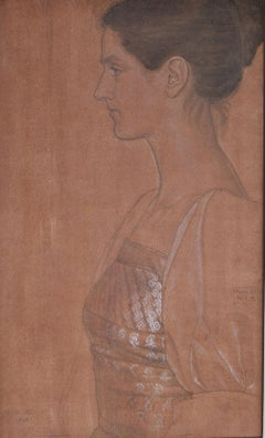 Portrait Drawing of the Artist's Wife by late Pre-Raphaelite Joseph Southall