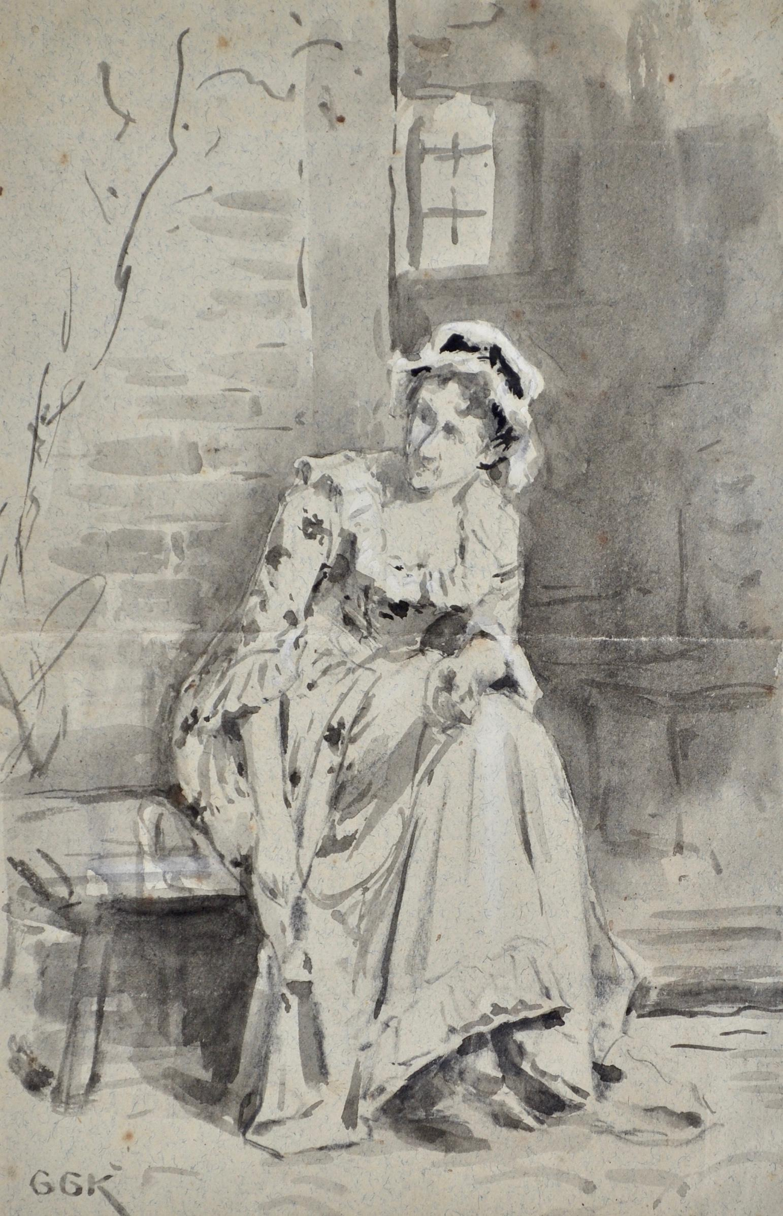 Sally in our Alley - British Victorian watercolour sketch by Goodwin Kilburne