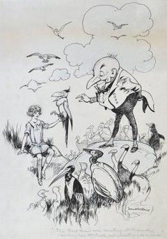 The Bird Man - original 1920s children's pen and ink book illustration