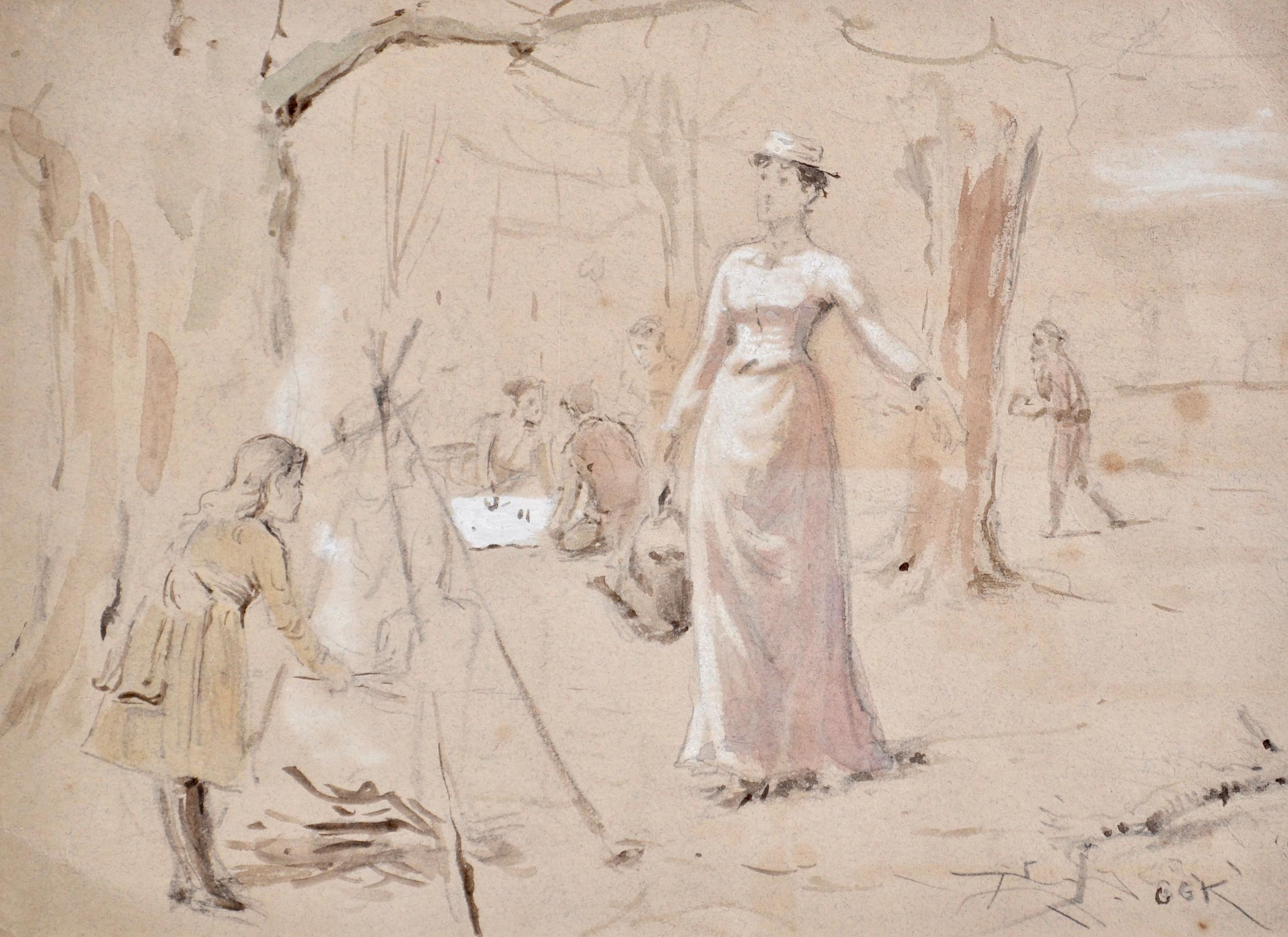 The Family Picnic - Watercolour study by Victorian artist G G Kilburne
