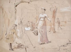 The Family Picnic - Watercolour study by Victorian artist G G Kilburne