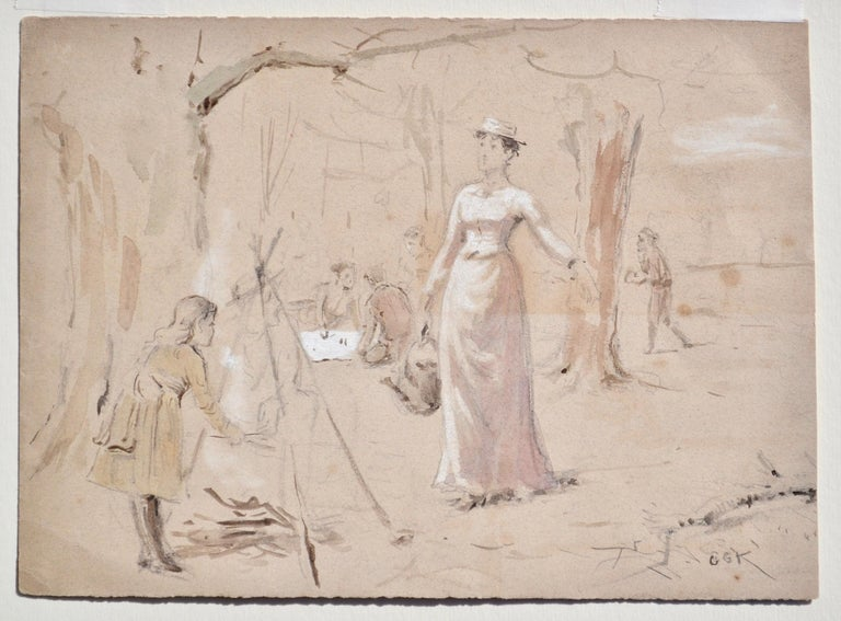 The Family Picnic - Watercolour study by Victorian artist G G Kilburne - Realist Art by George Goodwin Kilburne