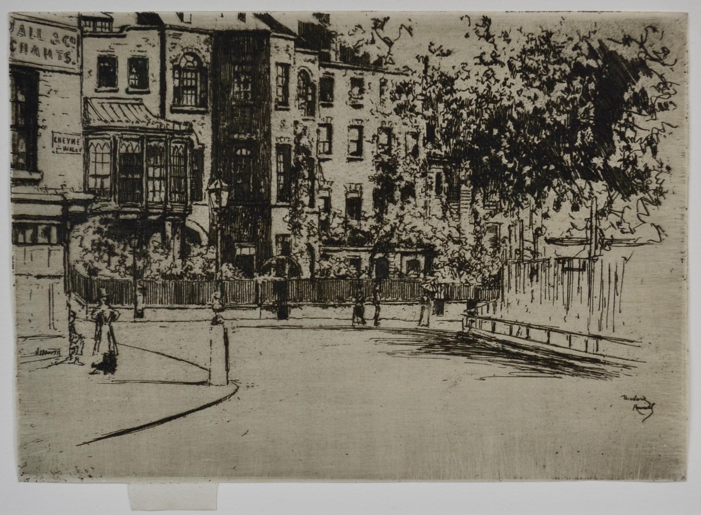 The Corner of Cheyne Walk, Chelsea - 19th Century British Etching by Roussel
