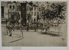 The Corner of Cheyne Walk, Chelsea - 19th Century British Etching by Roussel