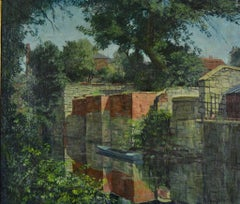 St Clements' Backwater, Oxford - Modern British landscape oil by F H Stonham