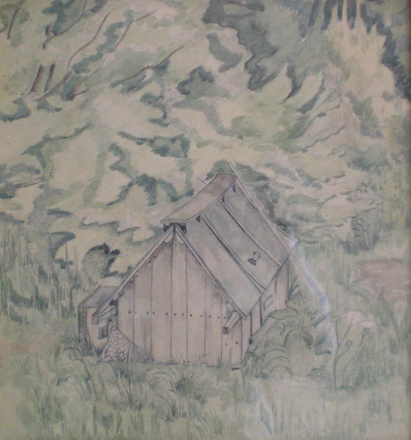 The Hen Coop - 1940s Modern British watercolour by Pamela Spencer