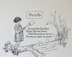 Seeds - 1920s original children's book illustration by Frank Watkins