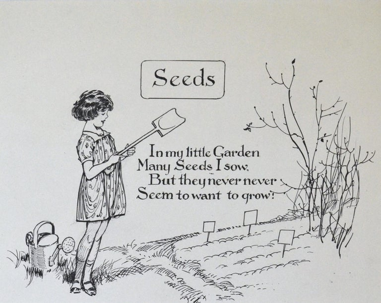 """FRANK WATKINS (1863-1929)  Seeds  Inscribed: """"In my little Garden Many Seeds I sow. But they never never Seem to want to grow!  Pen and ink Unframed, in conservation mount only  18.5 by 23.5 cm., 7 ¼ by 9 ¼ in. (mount size 34 by 39 cm., 13 ½ by"""