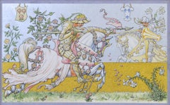 The Lily and the Rose - Arts & Crafts watercolour on vellum after Walter Crane