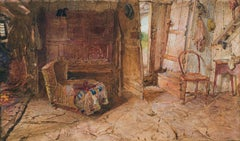 Cottage Interior - Watercolour by Pre-Raphaelite British Artist Frederic Shields