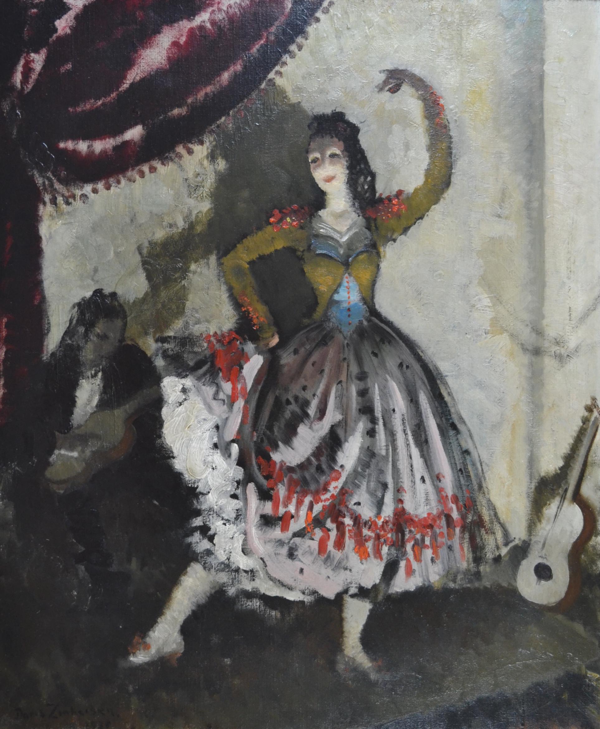 Flamenco Dancer - 1930s theatrical oil painting by Doris Zinkeisen