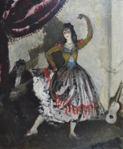Flamenco Dancer - 1930s theatrical oil painting by Doris Zinkeisen