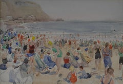 On the Beach - 20th Century British watercolour of bathers on a Beach