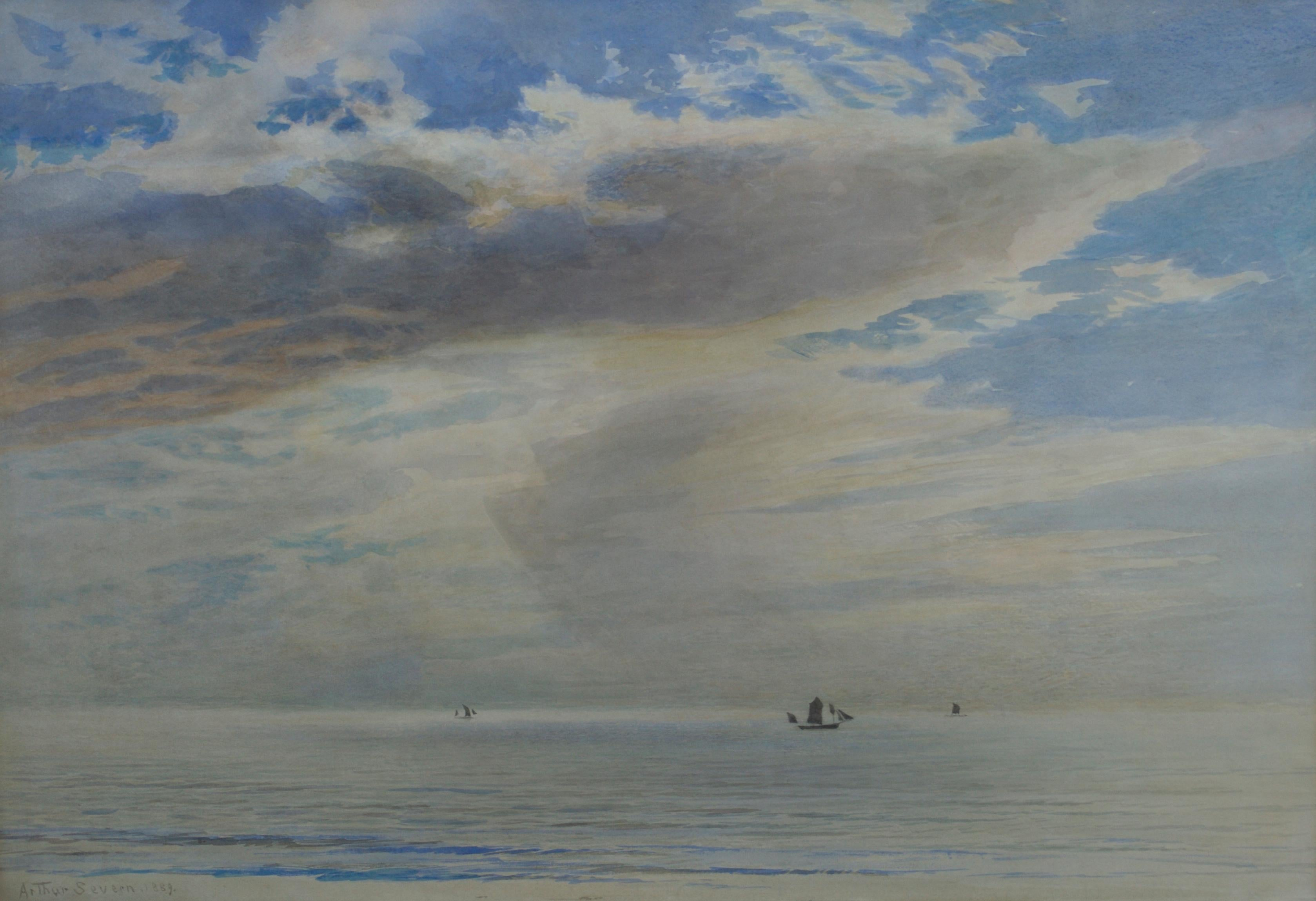 Passing Clouds - 19th Century British marine watercolour by Severn