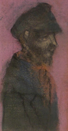 A Woman - Early 20th Century British pastel drawing of a man in a cap