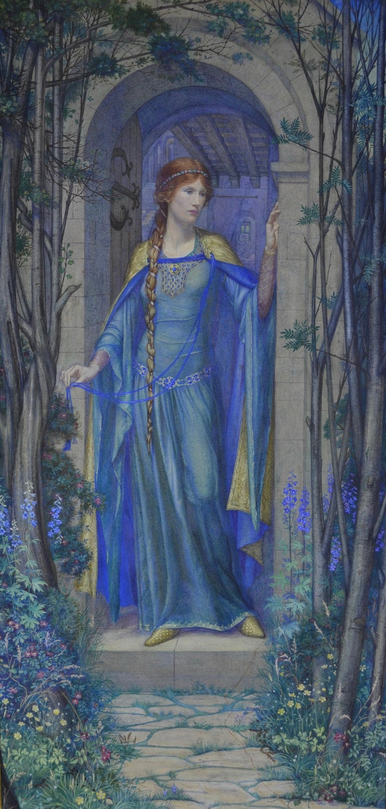 Kate Eadie, RMS Figurative Art - Fair Rosamond - Pre-Raphaelite watercolour by British Female Artist Kate Eadie