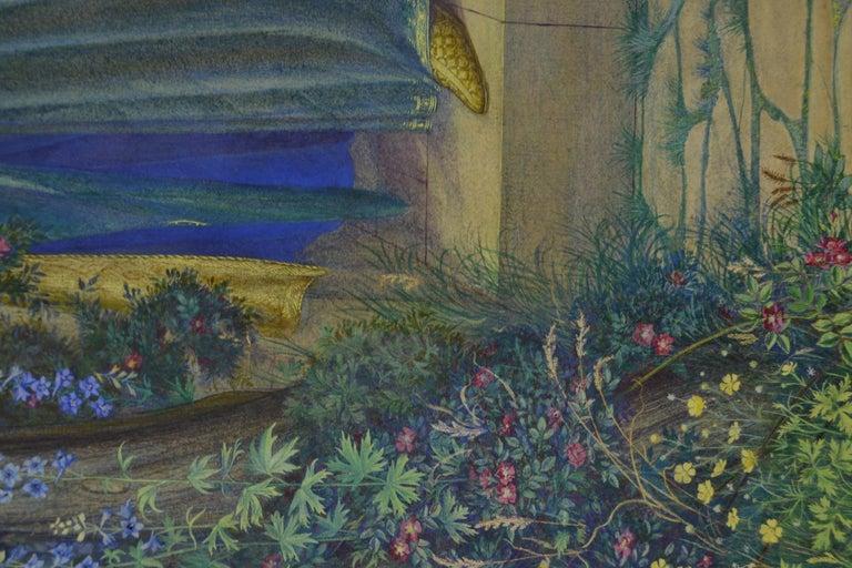 Fair Rosamond - Pre-Raphaelite watercolour by British Female Artist Kate Eadie 1
