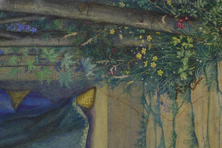 Fair Rosamond - Pre-Raphaelite watercolour by British Female Artist Kate Eadie 2
