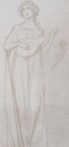 The Lute Player - Silverpoint drawing by British Pre-Raphaelite Joseph Southall