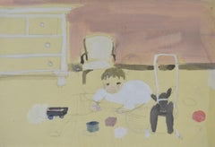 Playtime - 20th Century British domestic watercolour drawing by Barbara Dorf