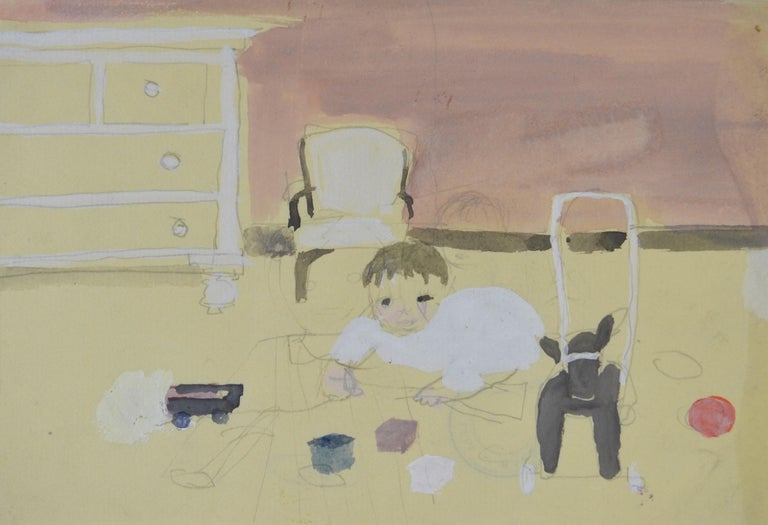 BARBARA DORF (1933-2016)  Playtime  Bears studio stamp on the reverse Watercolour and pencil, unframed  13.5 by 19.5 cm., 5 ¼ by 7 ¾ in. (mount size 30 by 35 cm., 11 ¾ by 13 ¾ in.)  Barbara Ester Dorf was born in North London, the daughter of a